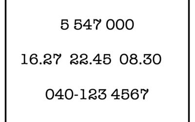 Arjen numerot- testi julkaistu